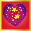 Stars heart on red background — Vektorgrafik