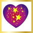 Stars heart with golden frame — Stock Vector