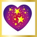Stars heart with golden frame — Stock Vector
