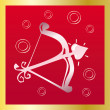 Cupid Arrow on red — Vector de stock