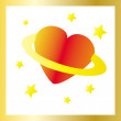 Space heart with gold frame — Stock Vector
