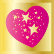 Stars in heart on gold — Stock Vector