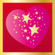 Stars in heart on red background — Stock Vector