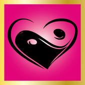 Heart Ying Yang Symbol on pink backgroun — Stock Vector