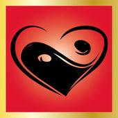 HeartYing Yang Symbol — Stock Vector
