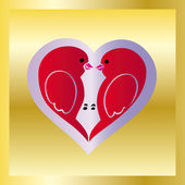 Love birds on gold — Stock Vector
