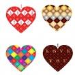 Set of 4 hearts — Stock Vector