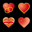 Set of 4 red hearts — Stock Vector