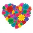 Flores en corazón — Vector de stock