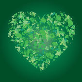 Heart from leaves on green background — Stock Vector