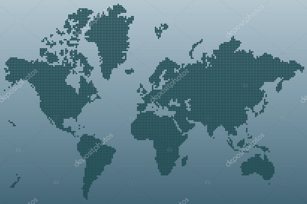 Stylized world map, unusual blue color, vector illustration — Stock Vector #1506195