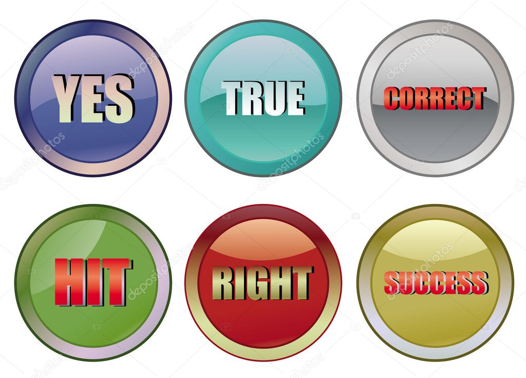 Set of correct buttons, vector illustration  Stock Vector #1516867