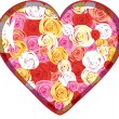 Glass heart with roses inside — Imagen vectorial