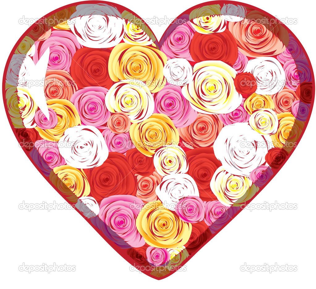 Glass heart with roses inside over white, vector illustration — Stock Vector #1568435