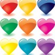 Glass hearts — Stock Vector
