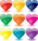Glass hearts — Stock Vector