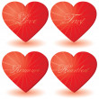 Stock Vector: Set of 4 hearts with love words