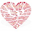 Red text about what love is - Stock Vector
