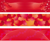 Set of 3 banners on balentine day — Stock Vector