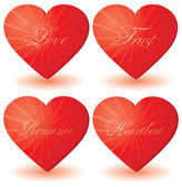 Set of 4 hearts with love words — Stock Vector