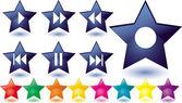 Blått glas stjärnor som musikknappar — Stockvektor
