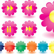 Music buttons as pink flowers — Stock Vector
