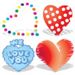 Set of valentine`s hearts, part 8, — Stock Vector