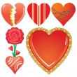 Set of valentine`s hearts, part 7 - Stock Vector