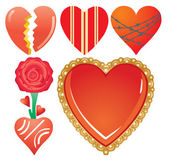 Set of valentine`s hearts, part 7 — Stock Vector