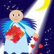 St. Valentine sow love in night - Stockvectorbeeld