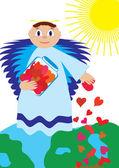 Love angel sow love — Stock Vector