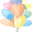 Colored heart shaped balloons - Stock Vector