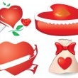 Set of valentine`s hearts, part 11 - Stock Vector