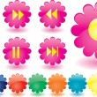 Music buttons as pink flowers - Stock Vector
