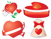 Set of valentine`s hearts, part 11 — Stock Vector