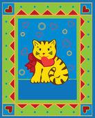 Valentine kort med kattunge, — Stockvektor