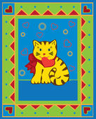 Valentinskarte mit kätzchen, — Stockvektor