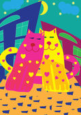 Valentine card with bright cats — Vector de stock
