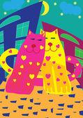 情人节卡和明亮的猫 — 图库矢量图片