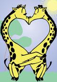 Tarjeta de san valentín con besos jirafas — Vector de stock
