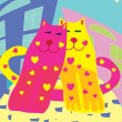 Valentine card with cats — Stockvektor #1776497