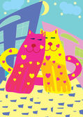 Valentine card with cats — Stockvector