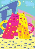 Valentine karta s kočkami — Stock vektor