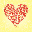 Heart from hearts on yellow background — Stock Vector