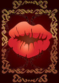 Red lips on brown Valentine card — Wektor stockowy
