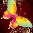 altın arka plan sevgi kelebeği — Stok Vektör