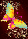 Love butterfly on gold background — Vecteur
