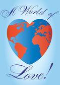 Heart shaped love planet — Stock Vector