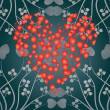 Valentine card heart and curls, — Vettoriali Stock
