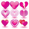 Stock Vector: Set of pink valentine`s hearts, part 2